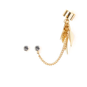 Crystal Earrings and Chain with Dangling Leaves Ear Cuff,
