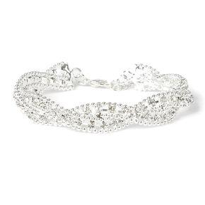 Rhinestone and Beaded Metal Chain Twist Bracelet,