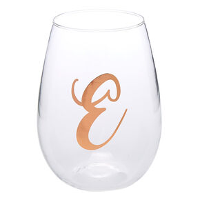"Rose Gold-Tone ""E"" Initial Stemless Wine Glass,"