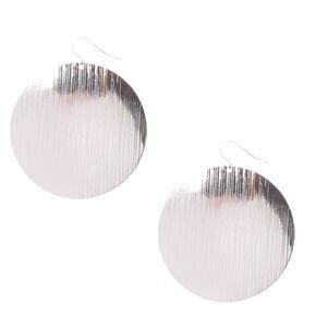 Silver-tone Flat Disc Drop Earrings,