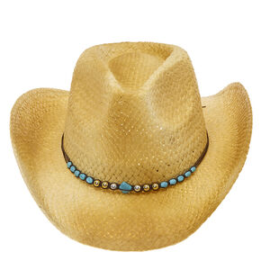 Turquoise Stone Bead Straw Cowboy Hat,