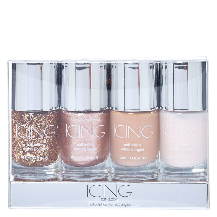Nude Glitter 4 Pack Nail Polish Set,