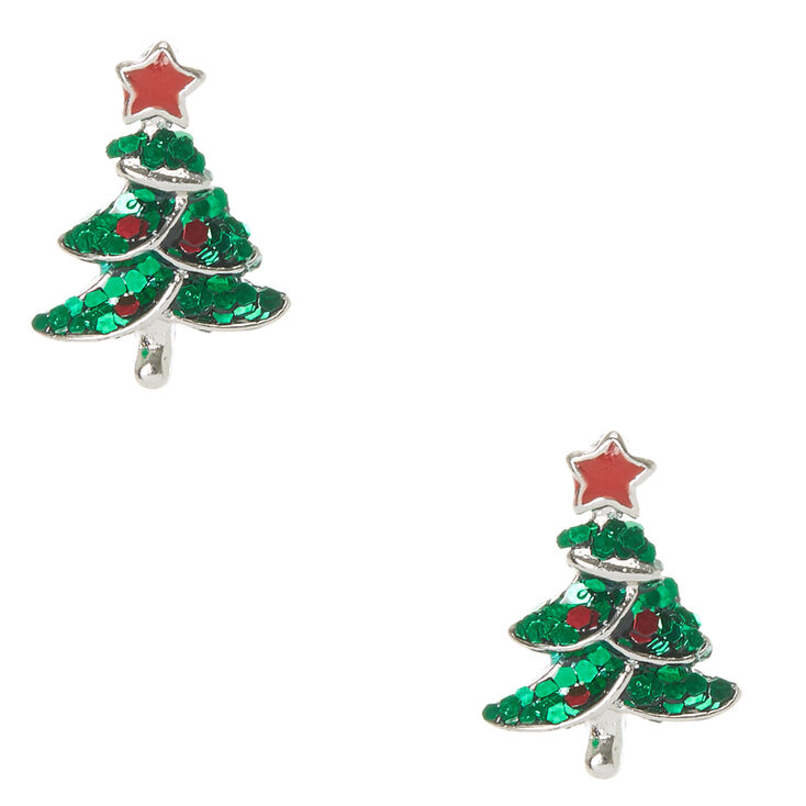 Glitter Christmas Tree Stud Earrings,