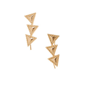 Gold-tone Triangle Trio Ear Crawlers,