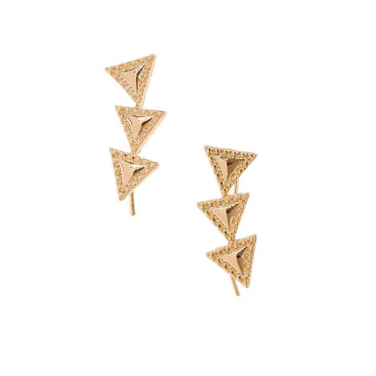 Gold-tone Triangle Trio Ear Crawlers,