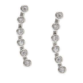 Sterling Silver Crystal Ear Crawler Earrings,