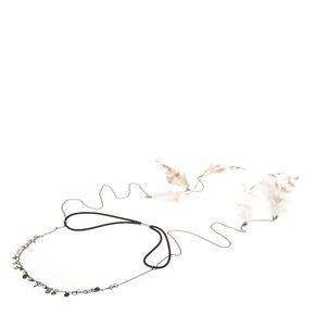 Hematite Dangling Feather Headchain,