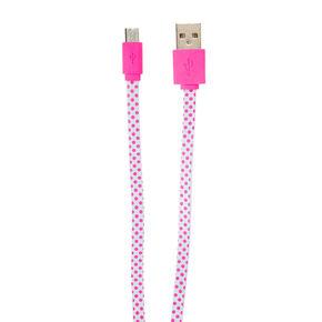 Pink Polka Dot USB Cord,