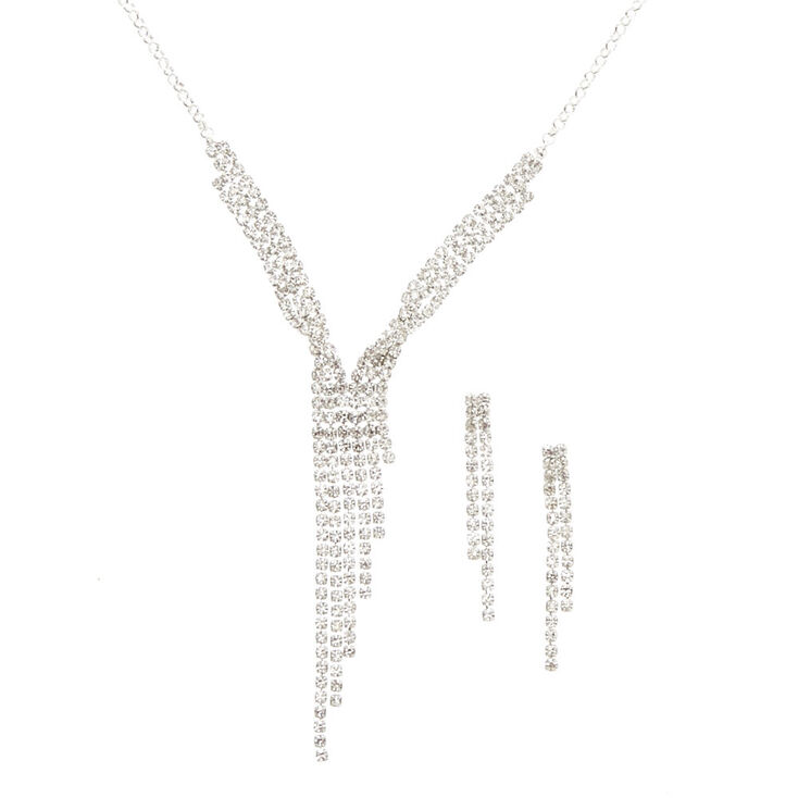 Silver-tone Linear Faux Crystal Jewelry Set,