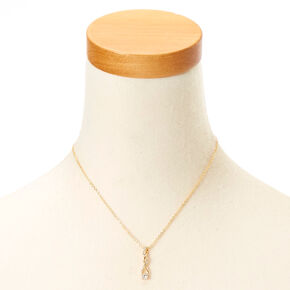 Gold-tone Cubic Zirconia Twisted Pendant Necklace,