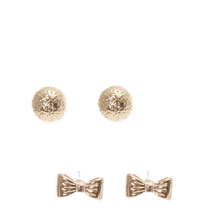 Gold Bow and Hammered Ball Stud Earrings,