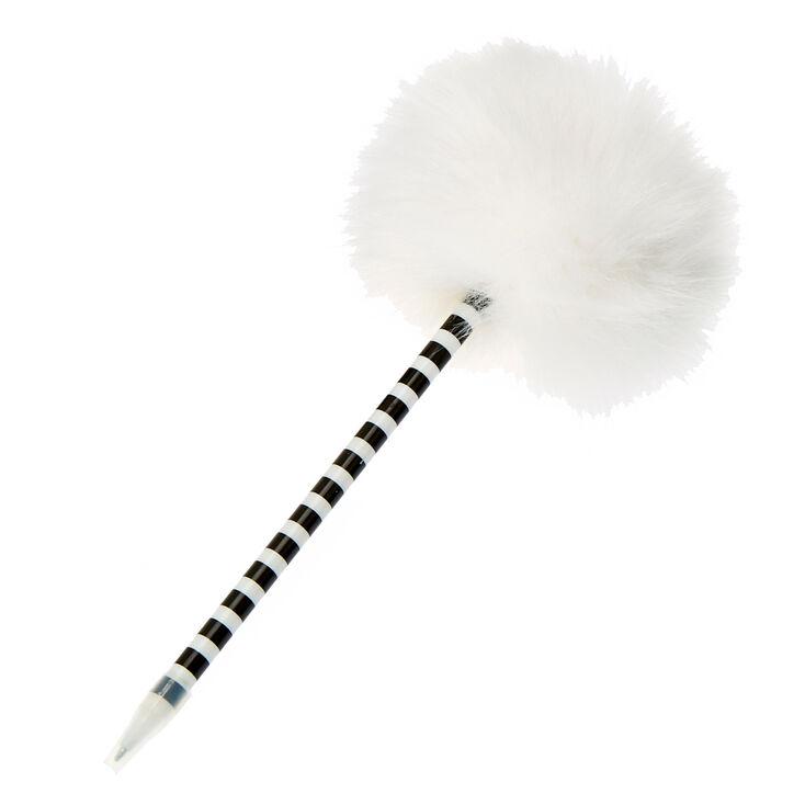 White  Faux Fur Pom Pen,