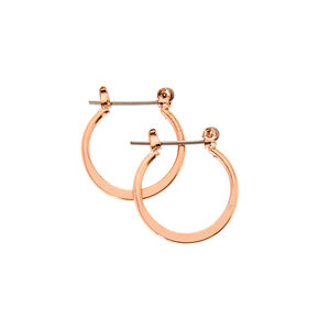 12mm Rose Gold-tone Knife Edge Hoop Earrings,