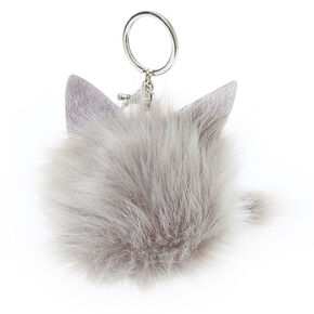 Grey Cat Pom Keychain,