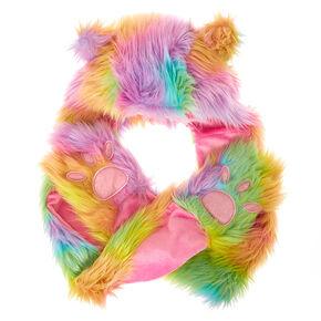 Furry Rainbow Animal Hood with Paw Gloves & Scarf,