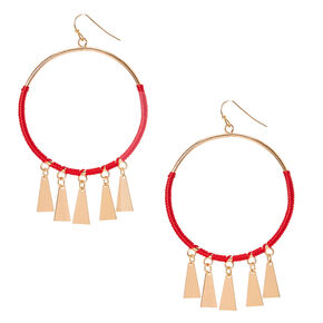 Red Cord and Gold Circle Drop Earrings,