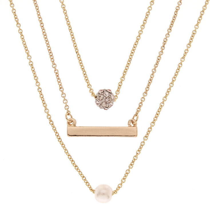 Gold-tone Small Charm Necklace Set