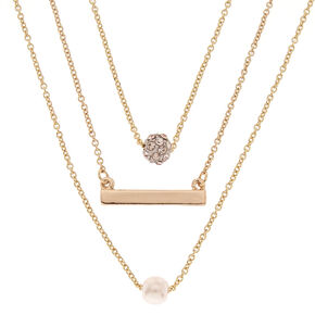 Gold-tone Small Charm Necklace Set,
