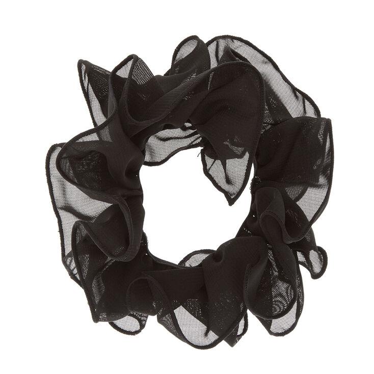 Black Mesh Ruched Hair Scrunchie,