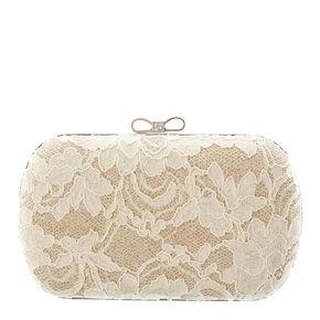 Gold Lace Glitter Box Clutch Bag,