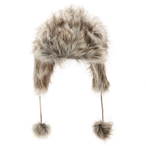 Gray Faux Fur Trapper Ski Hat,