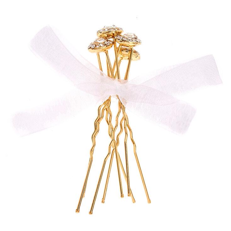Crystal Halo Gold-tone Bobby Pins,