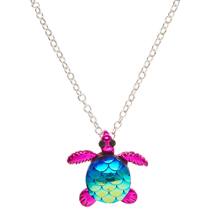 Metallic Pink Turtle With Mermaid Scales Pendant Necklace