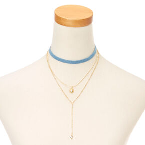Three Pack Denim and Gold Choker Necklaces,