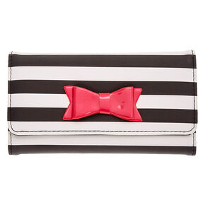 Black and White Striped Tech Wallet,