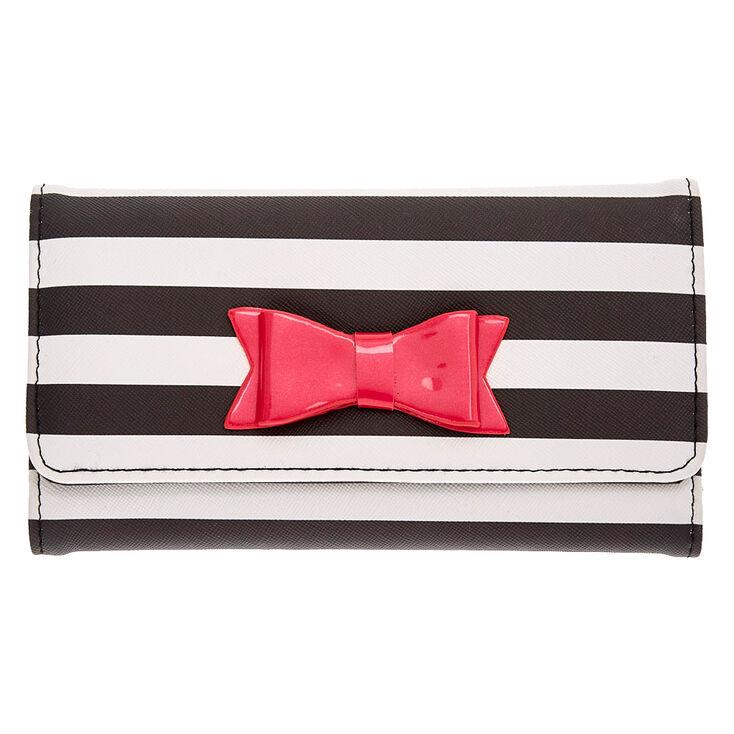 Black and White Striped Tech Wallet,