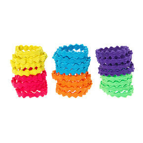 Rainbow Wavy Ponytail Holders Set of 24,