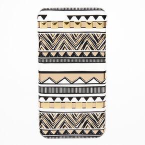 Clear, Black & Gold Aztec Design Phone Case,