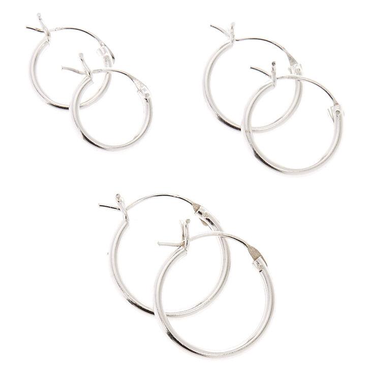 925 Sterling Silver Hinged Hoop Earrings 3 Pack,