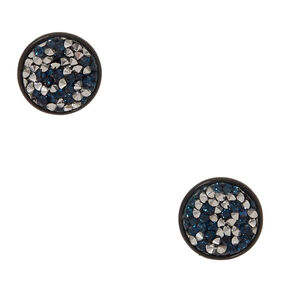 Silver and Blue Faux Druzy Stone Black Disc Earrings,