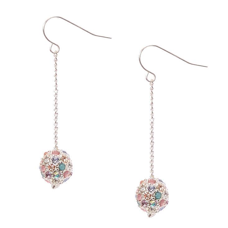 Pastel Silver Fireball Drop Earrings,