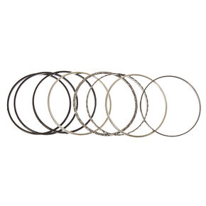 8-Pack Black and Silver Bangle Bracelets,