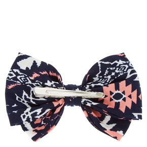 Navy Printed Hair bow,
