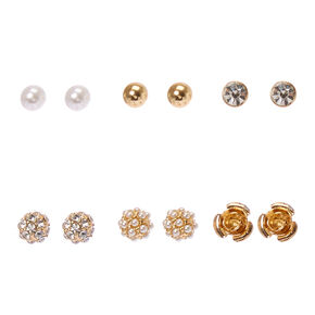 Gold-Tone  Faux Pearl, Crystal, and Carved Rose Stud Earrings,