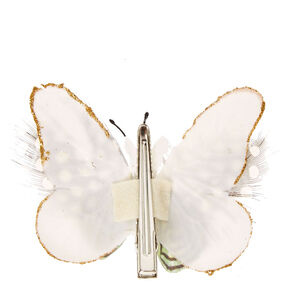 White Spotted Feathers Butterfly Hair Clip,
