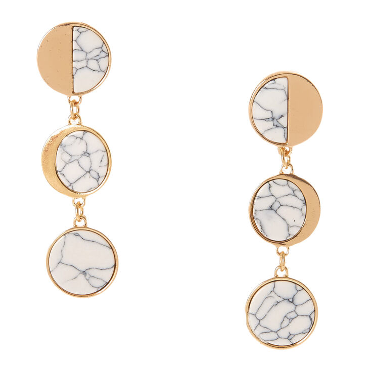 Gold-tone and White Marbled Stone Circle Drop Earrings,