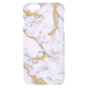 White and Gold Toned Marble Print Phone Case,