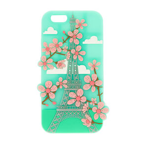 Mint Green Eiffel Tower Cherry Blossom Phone Case,