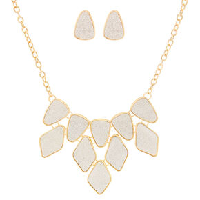 Gold Glitter Tape Statement Necklace & Earrings Set,