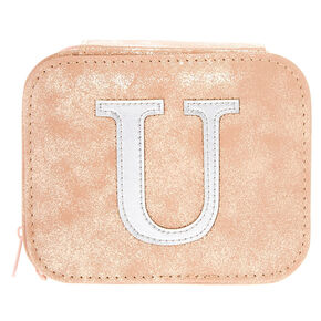 "Blush Pink ""U"" Initial Jewelry Case,"