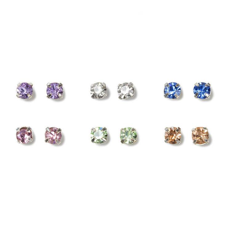 Pastel Crystal Stud Earrings Set of 6,