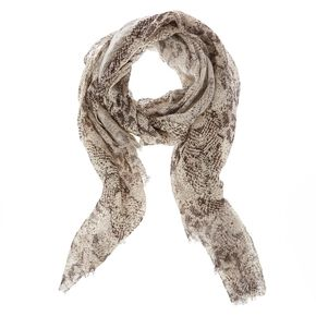 Black and White Knit Snake Print Scarf,