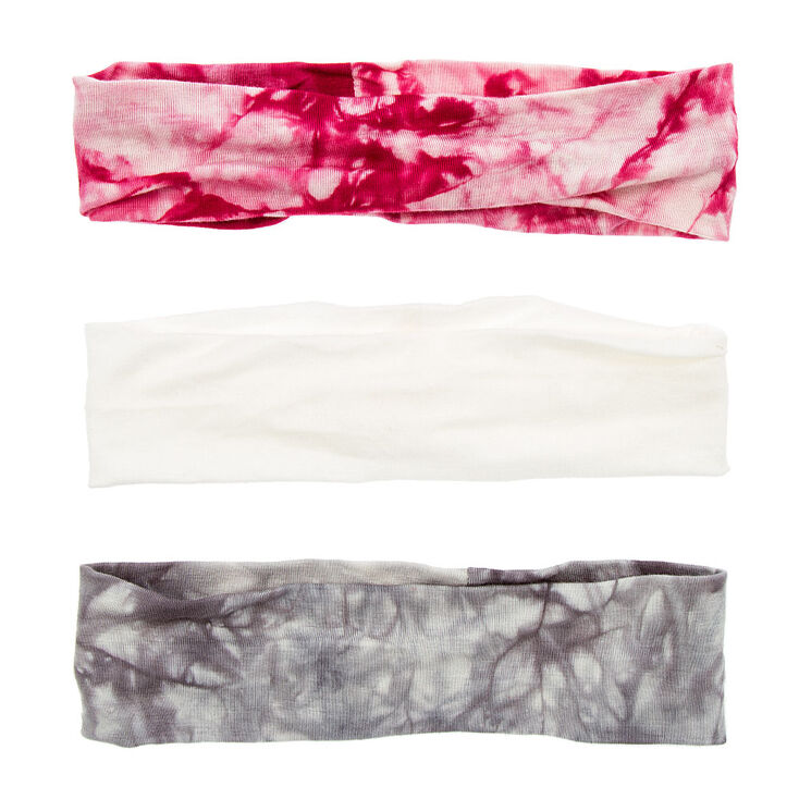 Ivory, Gray and Pink Tie Dye Head wraps,