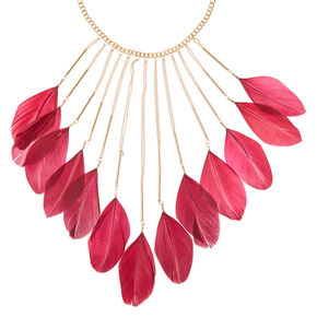 Gold Chain Necklace with Maroon Feathers,