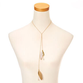 Gold & Feather Y Chain Necklace,