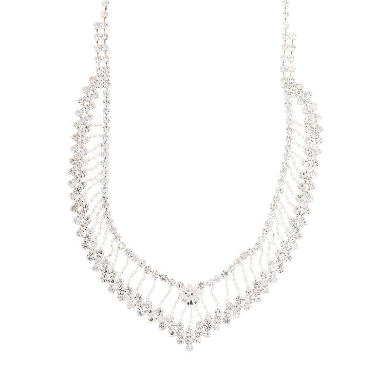 Crystal and Silver Beaded Chain V Necklace,